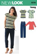 6216 New Look Pattern: Misses' Knit Top and Drawstring Trousers